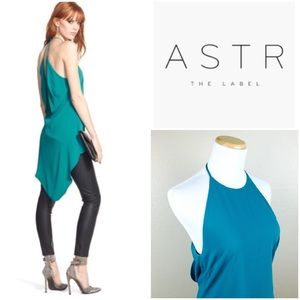 ASTR Open Back Teal Draped Asymmetrical Top